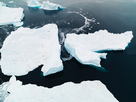 the arctic ocean: Icebergs on arctic ocean in Ilulissat icefjord, Greenland Stock Photo