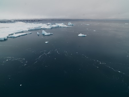 icefjord: Icebergs on arctic ocean in Ilulissat icefjord, Greenland Stock Photo