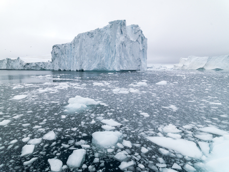 Icebergs are on the arctic ocean in Greenland Stock Photo