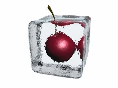 Cherry in ice cube photo