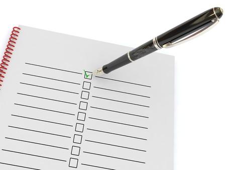Fountain pen and a checklist photo