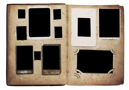 photo album page: old photo album isolated on white background
