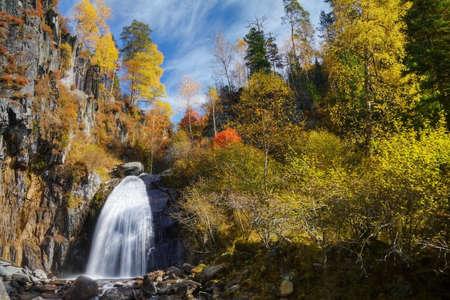 Korbu waterfall, autumn in the mountains photo