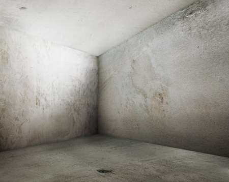 abandoned room: corner of old grunge interior Stock Photo