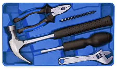 tools set in plastic box photo