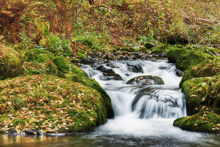 waterfall, autumn in the mountains photo
