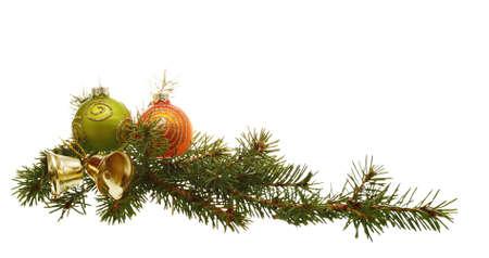 adornos navideños: decoración de Navidad aislado en el fondo blanco