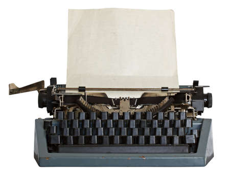 vintage typewriter with paper isolated on white background photo