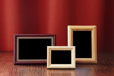 photo frames on red background Stock Photo - 10813190