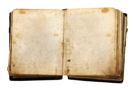 vintage book with blank pages isolated on white background