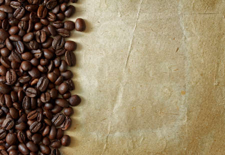 coffee beans on old paper photo
