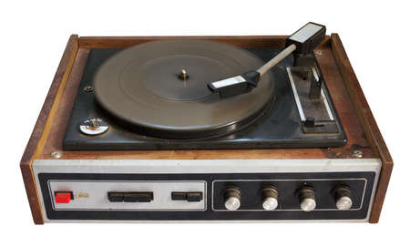 old record-player isolated on white background photo