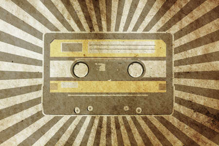 vintage musical background with audio cassette photo