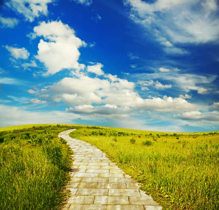 brick: yellow brick road through green meadows, fantasy background Stock Photo