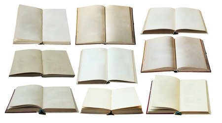 eading: blank open books set isolated on white background with clipping path