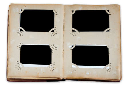 Vintage photo album with empty photos isolated on white background with clipping path photo