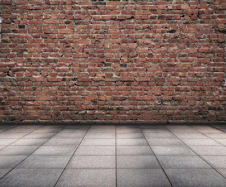 grunge interior: interior de grunge de edad con pared de ladrillo