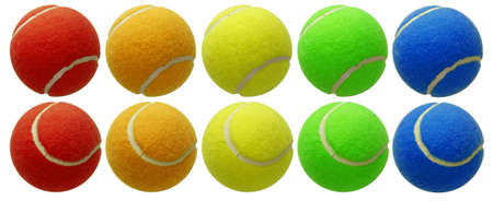 multi coloured: tennis balls set isolated on white background with clipping path Stock Photo