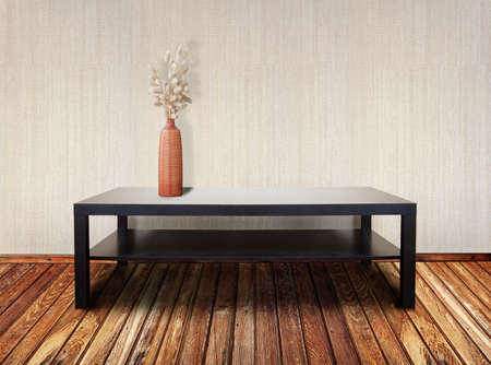 inter with brown table and ikebana Stock Photo - 11374619