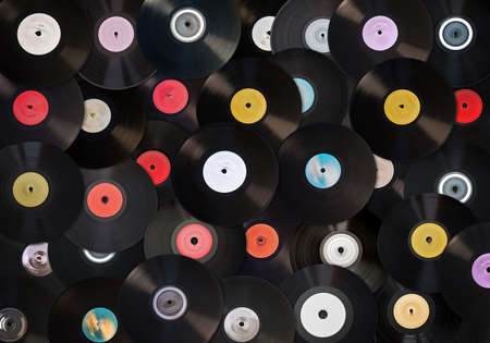 Old vinyl records collection  photo