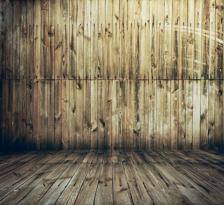 dark room: old room with wooden wall and floor, vintage background