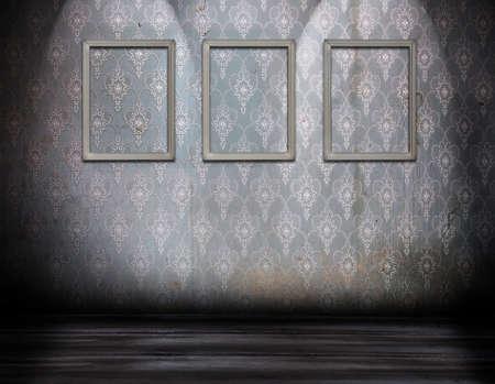 three grey frames on old dirty wall photo