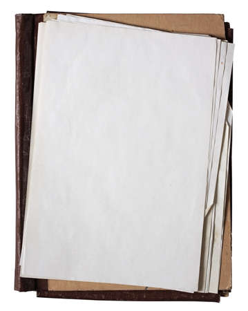 folder with stack of old papers isolated on white background  photo