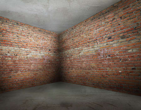 corner of old dirty room with brick wall, empty room  Stock Photo - 13710943