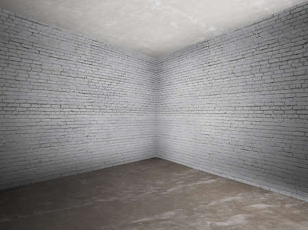 corner of old dirty interior with brick wall, empty room  Stock Photo - 13711074