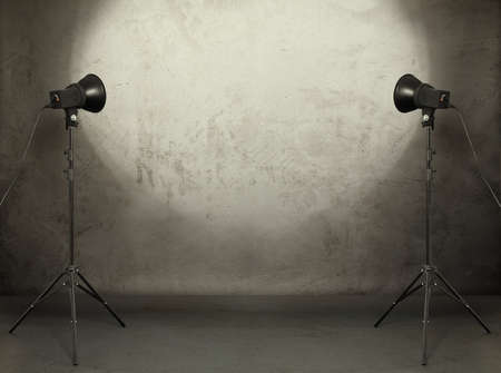 photo studio in old grunge room with concrete wall, urban background  Stock Photo