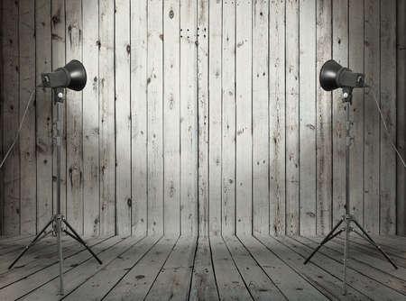 photo studio in old wooden room photo