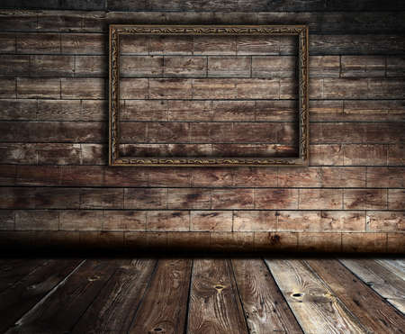 dark wooden interior with frame Stock Photo - 13748124
