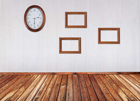 interior with frames and wall clock Stock Photo - 13748245