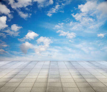 blue sky and grey floor, background Stock Photo