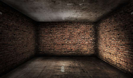 old grunge interior with brick walls photo