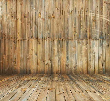 old room with wooden wall and floor, vintage background photo