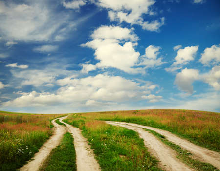 two country roads in the fields photo