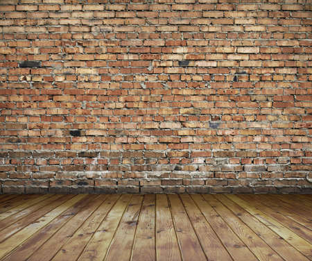 Interior de edad, con pared de ladrillo, fondo vintage Foto de archivo - 13785452