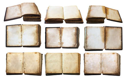 vintage books set isolated on white background photo