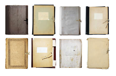 set of old folder isolated on white background  photo