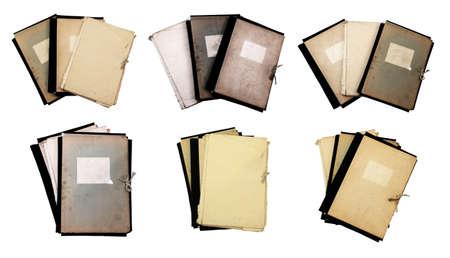 set of old folders isolated on white background photo