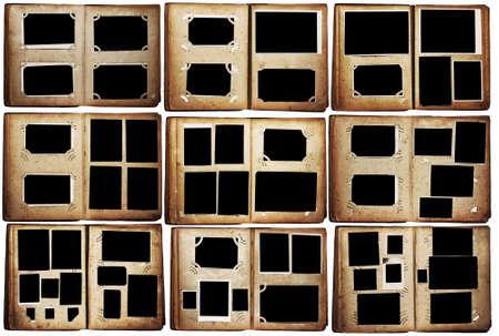 old photo albums set isolated on white background Archivio Fotografico