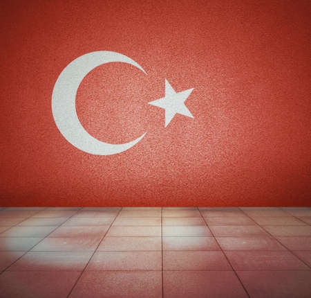 Turkey flag on the wall in empty room, studio background photo