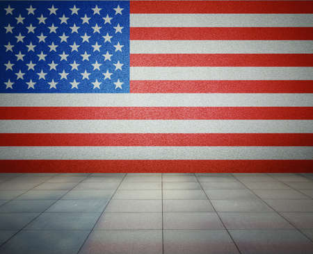 USA flag on the wall in empty room, studio background photo