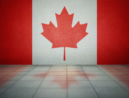 Canadian flag on the wall in empty room, studio background photo