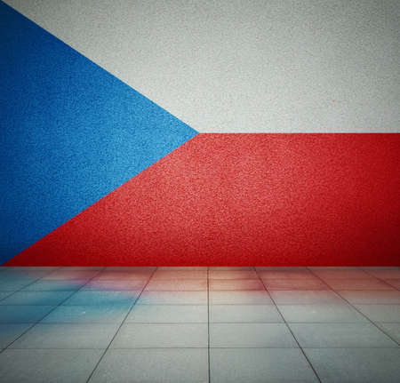 Czech Republic flag on the wall in empty room, studio background photo