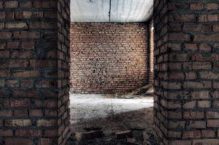 corner house: abandoned room, urban background