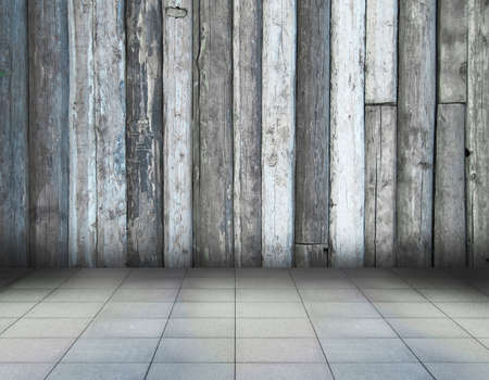 old room with wooden wall and tiled floor, vintage background photo