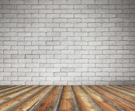 old interior with brick wall, vintage background  photo