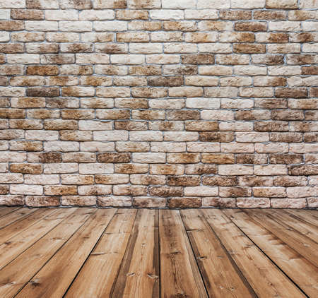 corner of old dirty interior with brick wall, empty room  Stock Photo - 15406147